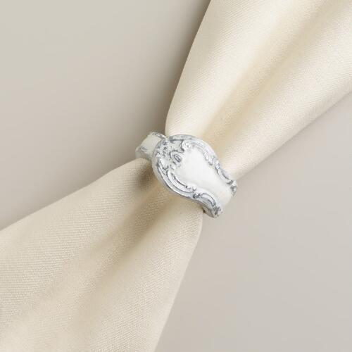 White Enamel Napkin Rings, Set of 4