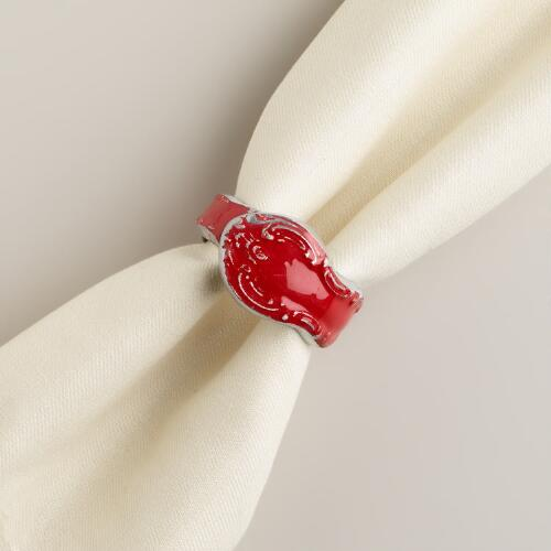 Red Enamel Napkin Rings, Set of 4