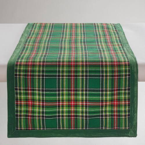 Green Plaid Winter Table Runner