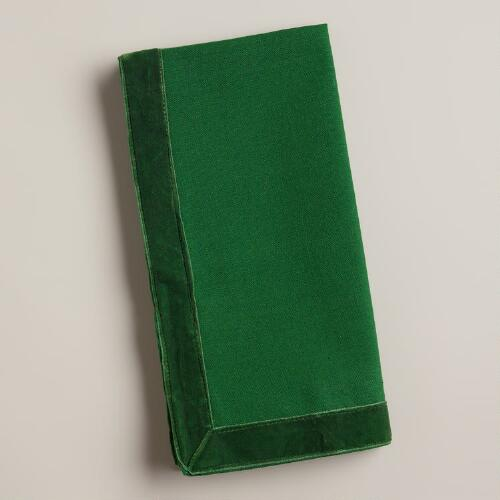 Green Velvet Trimmed Winter Napkins, Set of 4