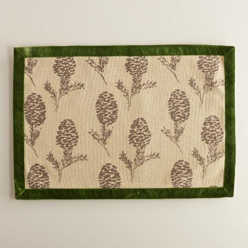 Green Pinecone Burlap Christmas Placemats, Set of 4
