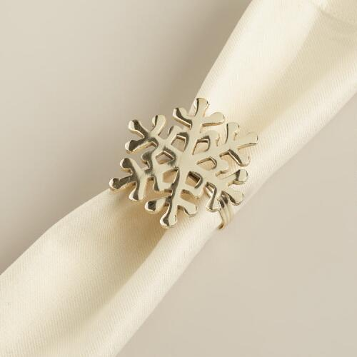 Snowflake Napkin Rings, Set of 4