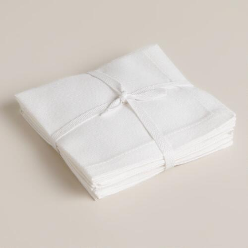 White Buffet Cocktail Napkins, Set of 4