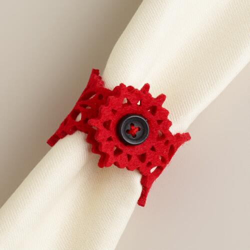 Red Felt Napkin Rings, Set of 4