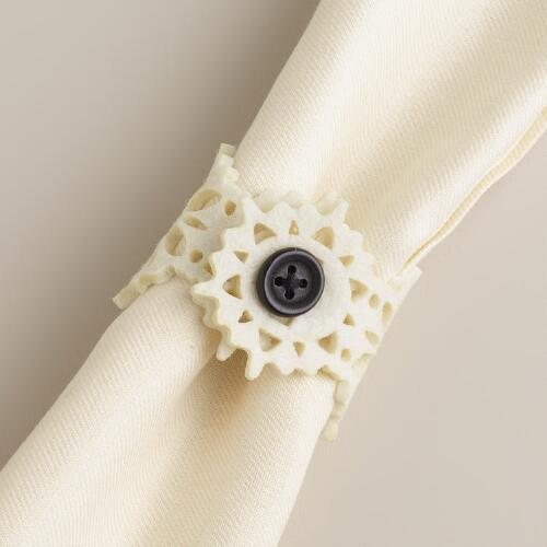 Ivory Felt Napkin Rings, Set of 4