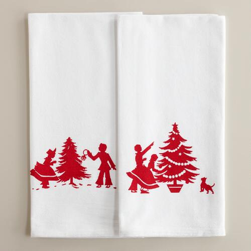 Holiday Flour Sack Kitchen Towels, Set of 2