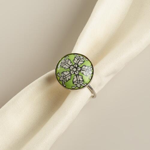 Green Flower Ceramic Napkin Rings, Set of 4