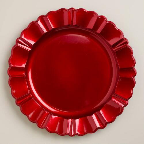 Red Baroque Chargers, Set of 4