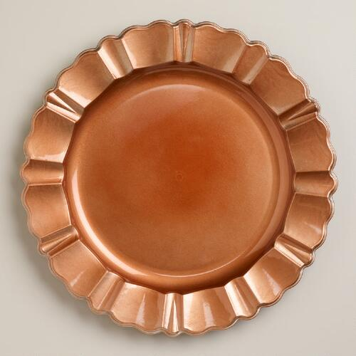 Copper Baroque Chargers, Set of 4
