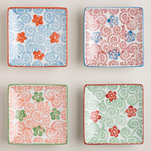 Blue Pacific Square Plates, Set of 4