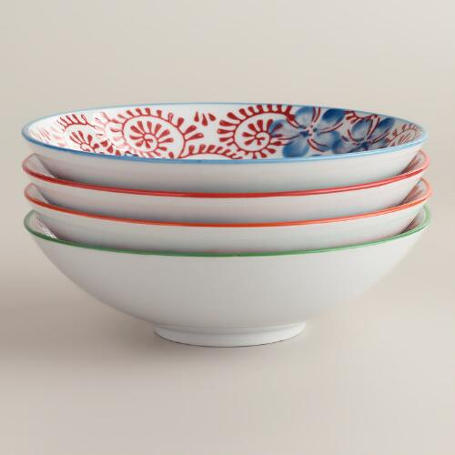 Blue Pacific Shallow Bowls, Set of 4