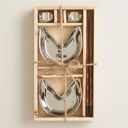 Silver Fortune Cookie 6-Piece Boxed Appetizer Set