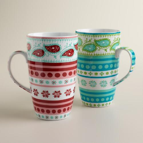Fair Isle Mugs, Set of 2