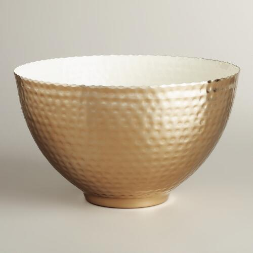 Two-Tone Conical Hammered Metal Bowl
