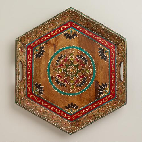 Paisley Patch Wood Serving Tray