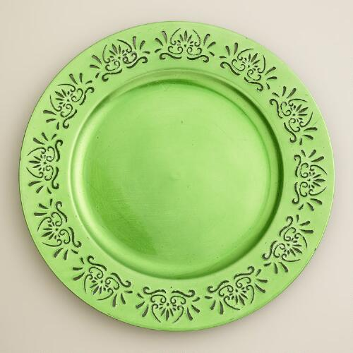 Green Pierced Chargers,  Set of 4