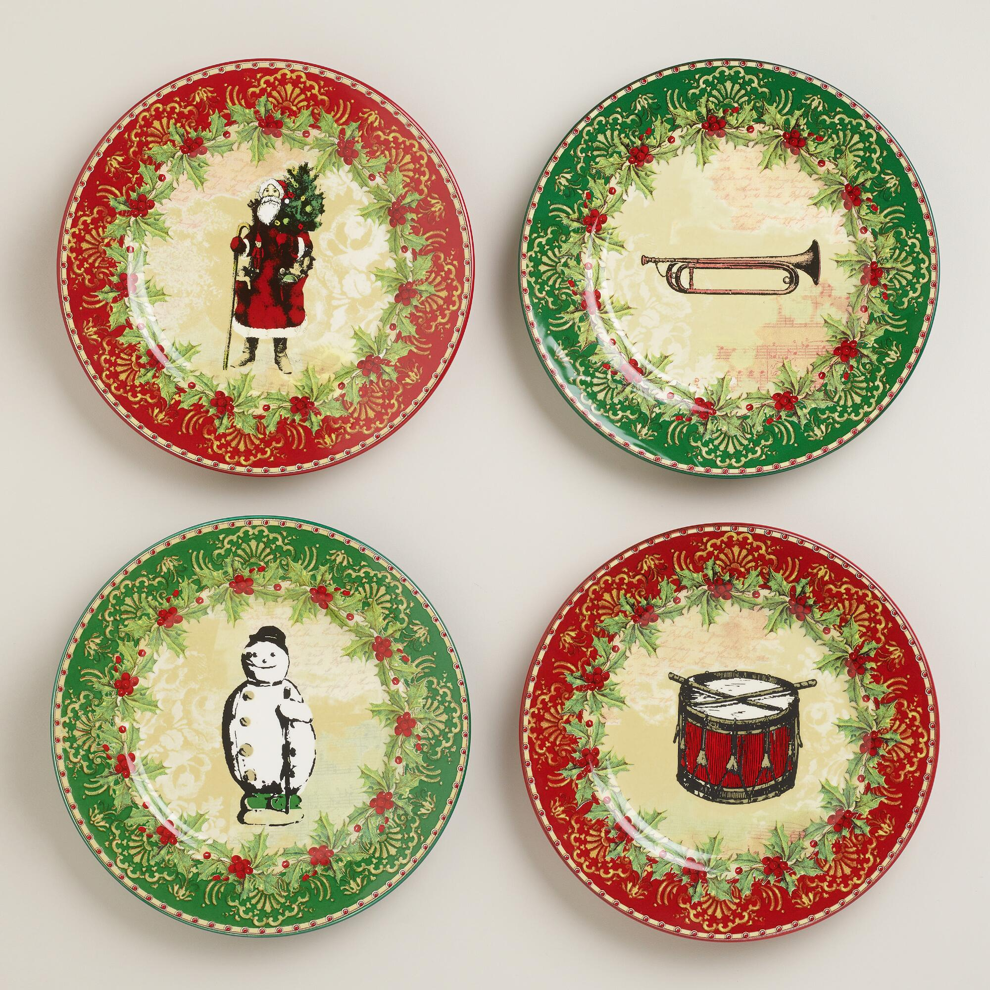 Victorian Christmas Plates, Set of 4 | World Market