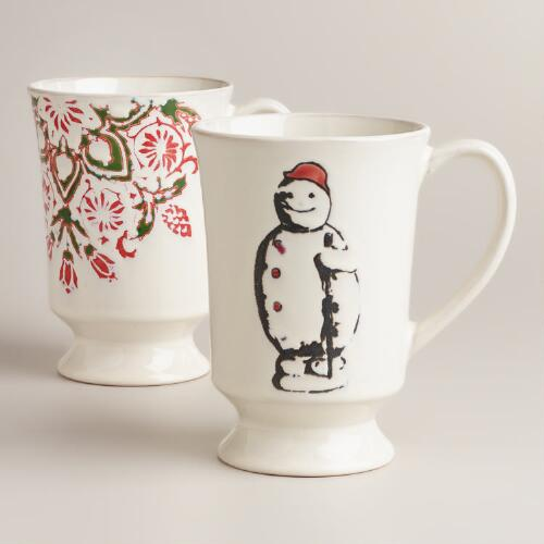 Victorian Christmas Mugs, Set of 2