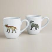 Woodland Fox Mugs, Set of 2