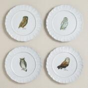 Woodland Owl Plates, Set of 4