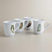 Woodland Owl Mugs, Set of 4