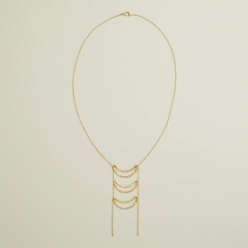 Gold 3-Crescent Long Chain Necklace