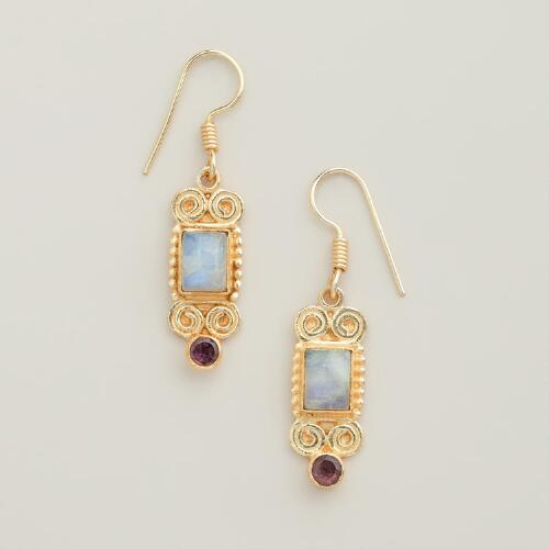 Gold and Amethyst Swirl Earrings
