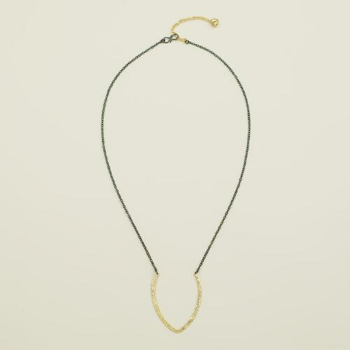 Two Tone U-Pendant Necklace