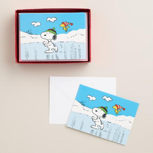 Ice-Skating Snoopy Boxed Holiday Cards, Set of 15