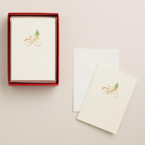 Petite Bike Boxed Holiday Cards, Set of 12
