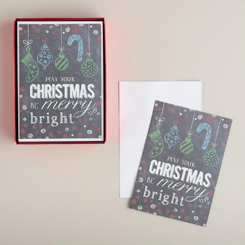 Ornaments Chalkboard Boxed Holiday Cards, Set of 15