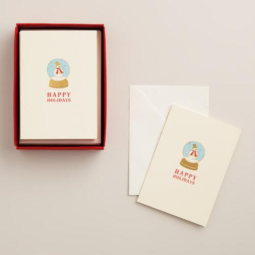 Petite Snow Globe Boxed Holiday Cards, Set of 12
