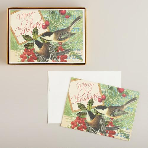 Chickadees Boxed Holiday Cards, Set of 15