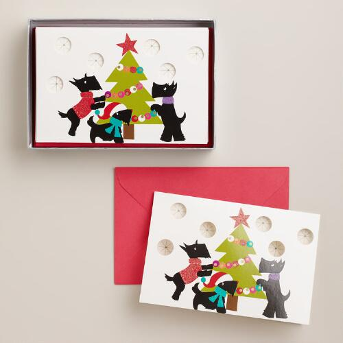 Scottie Christmas Tree Boxed Holiday Cards, Set of 15