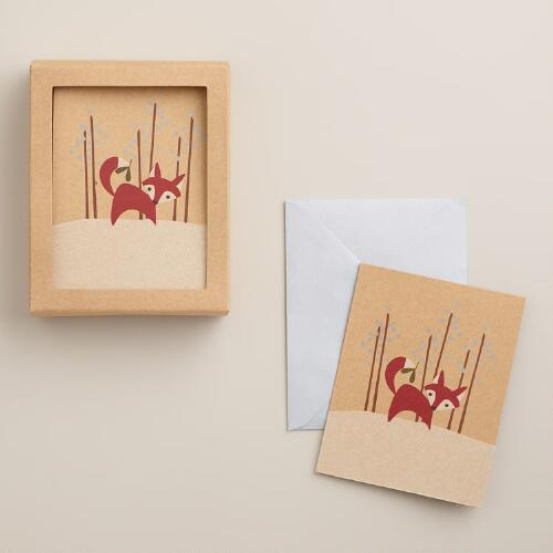 Red Fox Kraft Boxed Holiday Cards, Set of 15