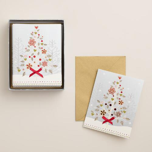 Snowy Haven Tree Boxed Holiday Cards, Set of 15