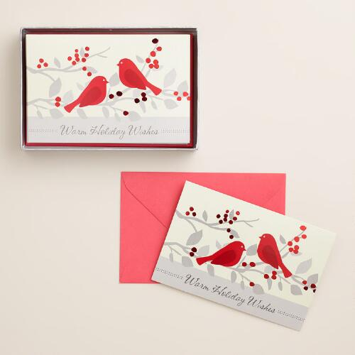 Snowbirds and Berries Boxed Holiday Cards, Set of 15