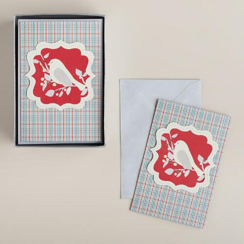 Snowbird on Plaid Boxed Holiday Cards, Set of 15