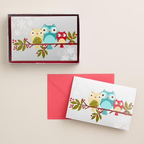 Owls on Branch Boxed Holiday Cards