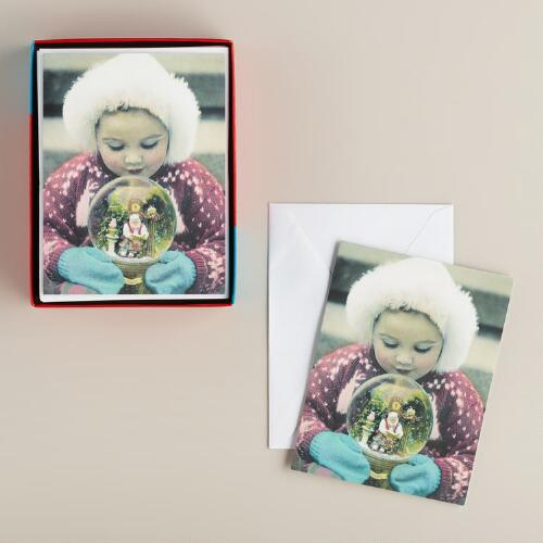 Girl with Snow Globe Boxed Holiday Cards, Set of 15