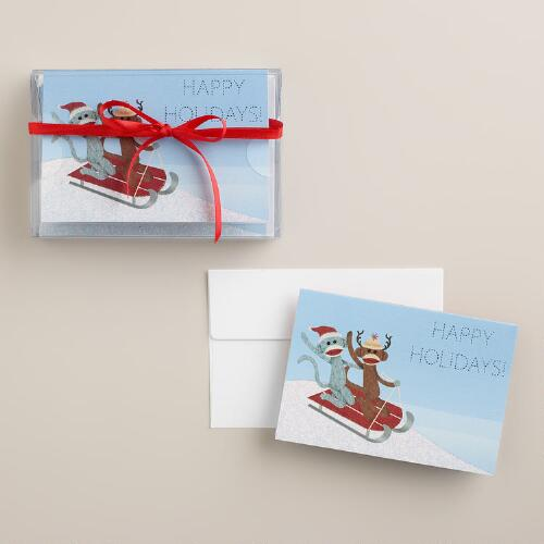 Sledding Sock Monkeys Boxed Holiday Cards, Set of 8