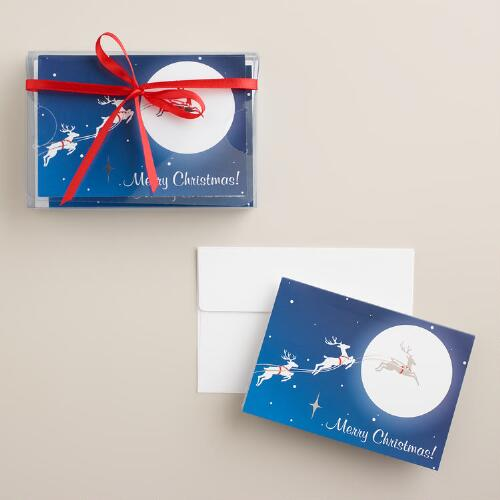 Moonlight Reindeer Boxed Holiday Cards, Set of 8