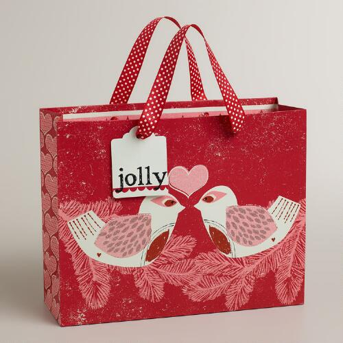 Medium Red Love Birds Gift Bag