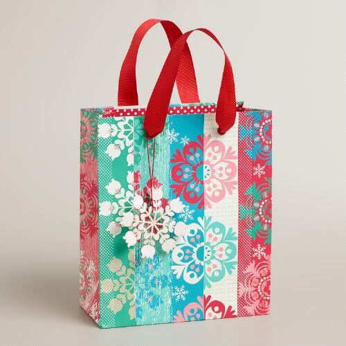 Small Nordic Snowflakes Gift Bag