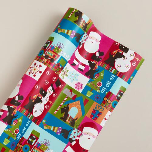 Jumbo Scottie on White Gift Wrap Roll