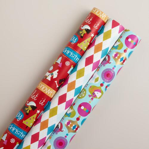Argyle Scottie Gift Wrap Rolls, 3-Pack
