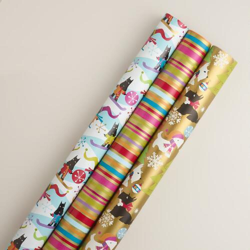 Scottie Stripe Gift Wrap Rolls, 3-Pack