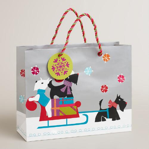 Medium Scottie on Sleigh Gift Bag