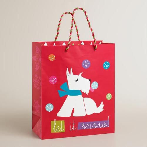 Large White Scottie Gift Bag