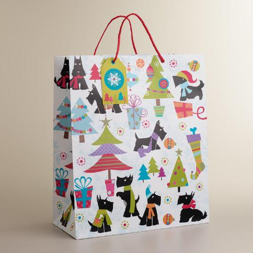 Jumbo Scottie on White Gift Bag
